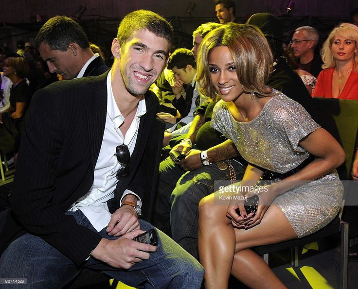 Michael Phelps and Ciara in the audience at the 2008 MTV Video Music Awards at Paramount Pictures Studios on September 7, 2008 in Los Angeles, California.