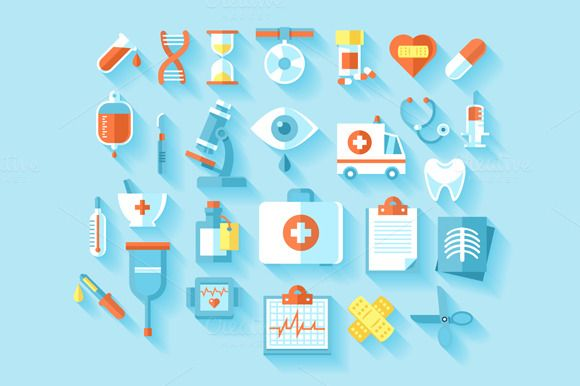 Flat Medical Icons Set by painterr on @creativemarket
