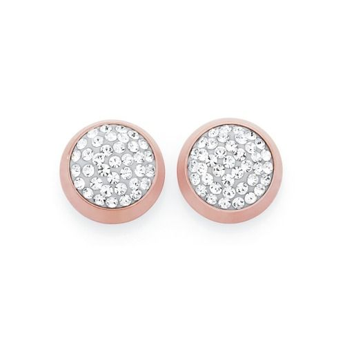 Stainless Steel Rose Plate Round Crystal Stud Earrings