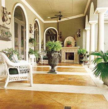 Residential patio featuring traditional styling and decorative concrete.  Bomanite Madera, CA