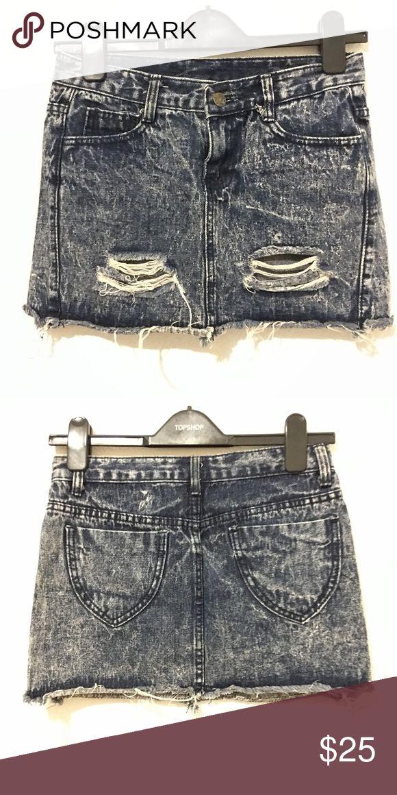 Ripped Denim Skirt Acid wash ripped denim skirt. Size Small Skirts Mini