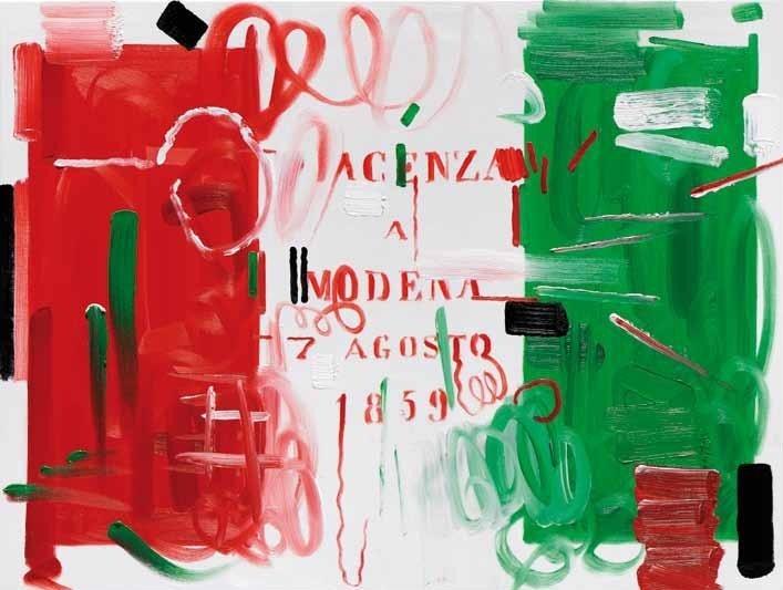 """Wainer Vaccari, """"Senza titolo"""", olio su tavola, cm 100x100, dal catalogo della mostra """"Novanta artisti per una bandiera"""", ©2013 corsiero editore"""