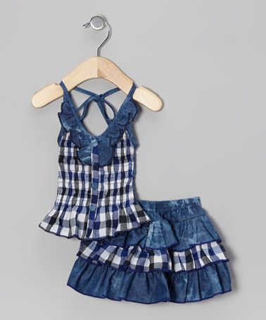 Take a look at this Blue Denim Gingham Halter Top & Skirt - Toddler & Girls by Lele Vintage on #zulily today!