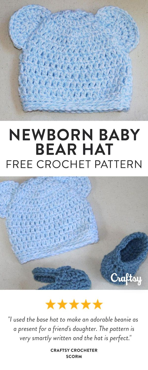 This quick and easy crochet baby hat features bear ears and ribbed edging. Get t…