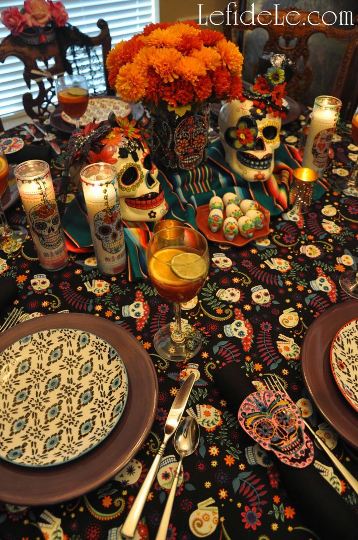 dia de los muertos day of the dead themed halloween dinner party dcor