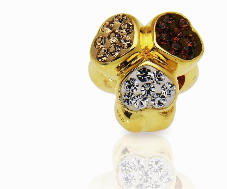 Amore & Baci golden Swarovski crystal silver bead