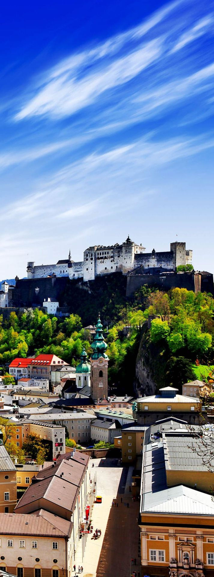 The Hohensalzburg fortress in Salzburg City. The Hohensalzburg fortress is the biggest medieval castle in Europe. Re-pinned for you by #EuropassEurope.