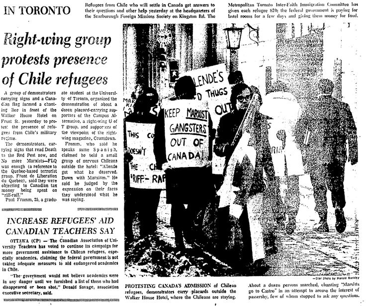 Mixed reception for Chilean refugees. Toronto Star, Jan. 14, 1974. #refugees #cdnhistory