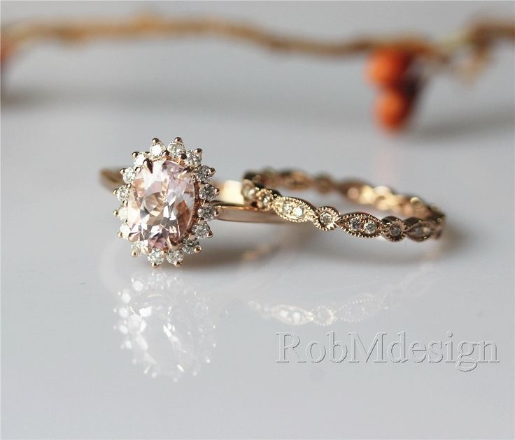 Art Deco 2pcs Enagement Ring Set Diana Pink 6*8mm Morganite Ring Halo Diamonds Stack With Full Eternity Wedding Band 14K Solid Rose Gold by RobMdesign on Etsy https://www.etsy.com/listing/251986003/art-deco-2pcs-enagement-ring-set-diana