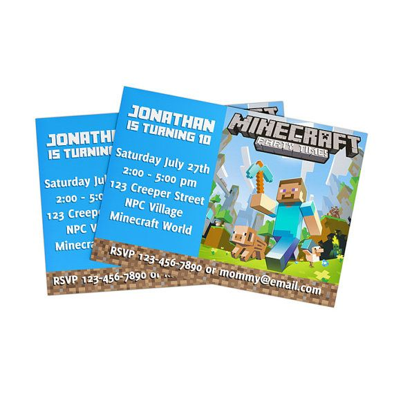 DIY Minecraft Birthday Invitation - Digital You Print