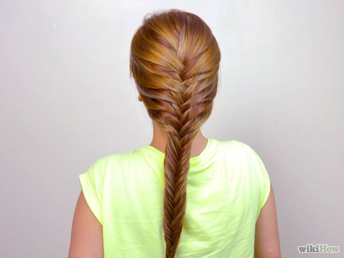 easy Fishtail braid: 1.Divide your hair into two large sections, parting straight down the middle. 2.Pull a thin strand of hair from the outside of the left section. 3.Repeat on the right side. 4.Keep alternating sides until you reach the bottom of the braid. 5.Tie