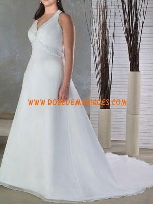 Robe de mariée grande taille Empire organza satin