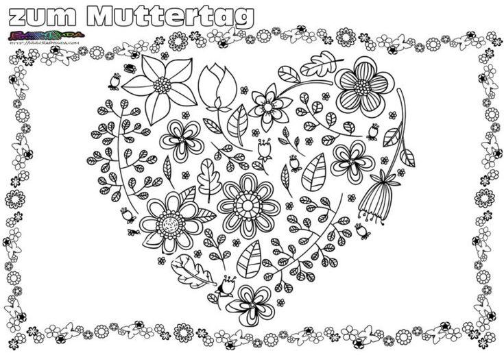Muttertag Ausmalbild & Malvorlage Gruß mit Herz
