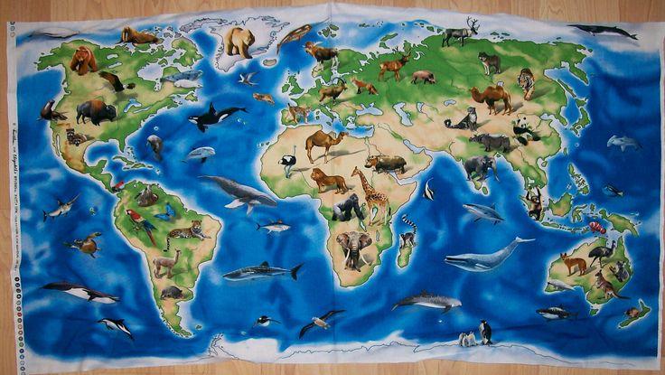 A Wonderful World Atlas With Animals World Map Fabric Panel Free US Shipping