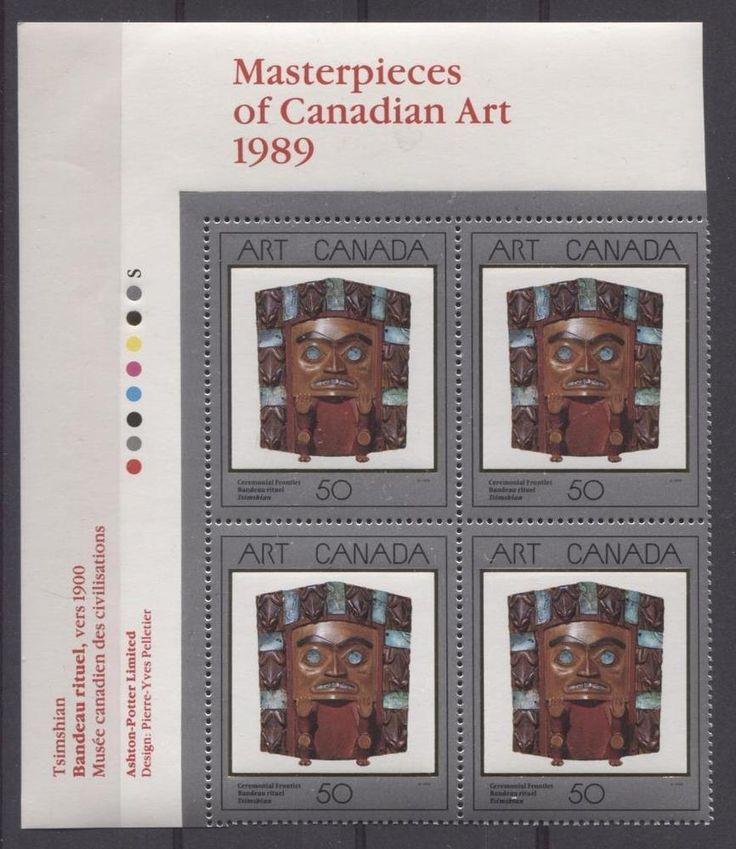 Canada #1241 50c 1989 Art Canada Ceremonial Frontlet UL Insc. Block DF VF-84 NH | eBay