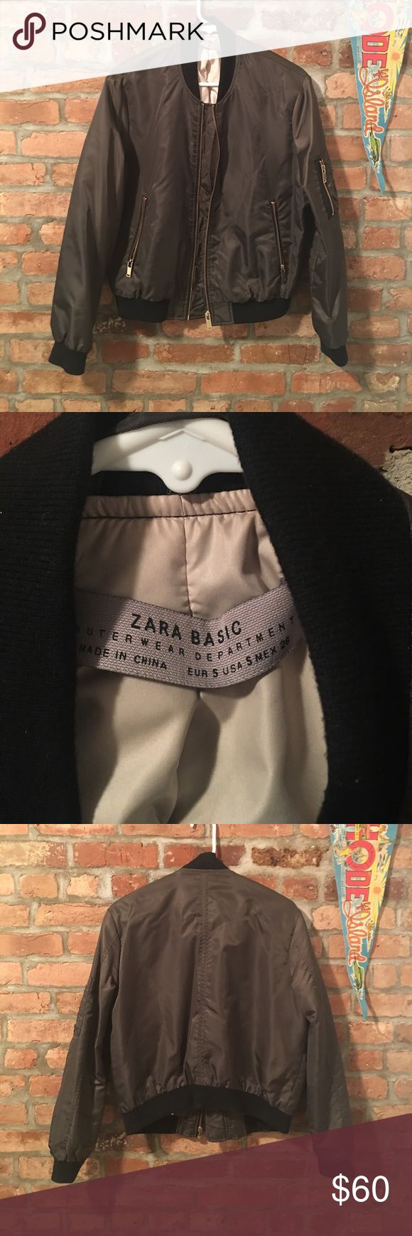Zara bomber jacket USA size S olive green like new Great bomber jacket only worn a few times. Olive green satin like sheen but more durable like nylon. Great for the spring. Size S. Zara Jackets & Coats