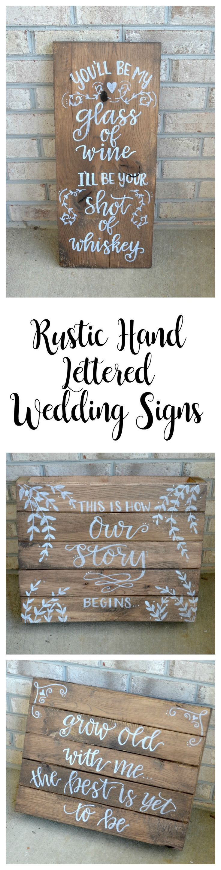 Rustic Hand Lettered Wedding Signs - One Artsy Mama
