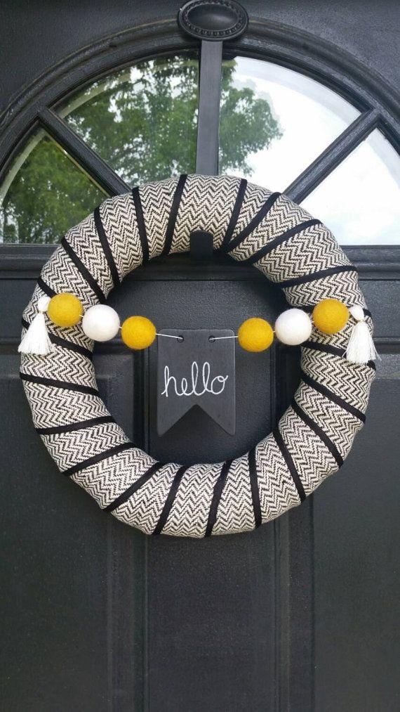 "Fall Wreath - Halloween Wreath - Felt Ball Garland - Customizable Chalkboard - 14"""