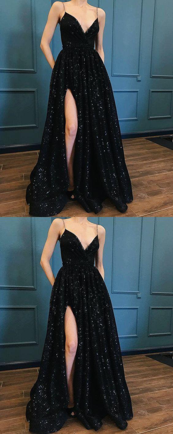 Black sequins spaghetti straps split simple fashion luxury prom