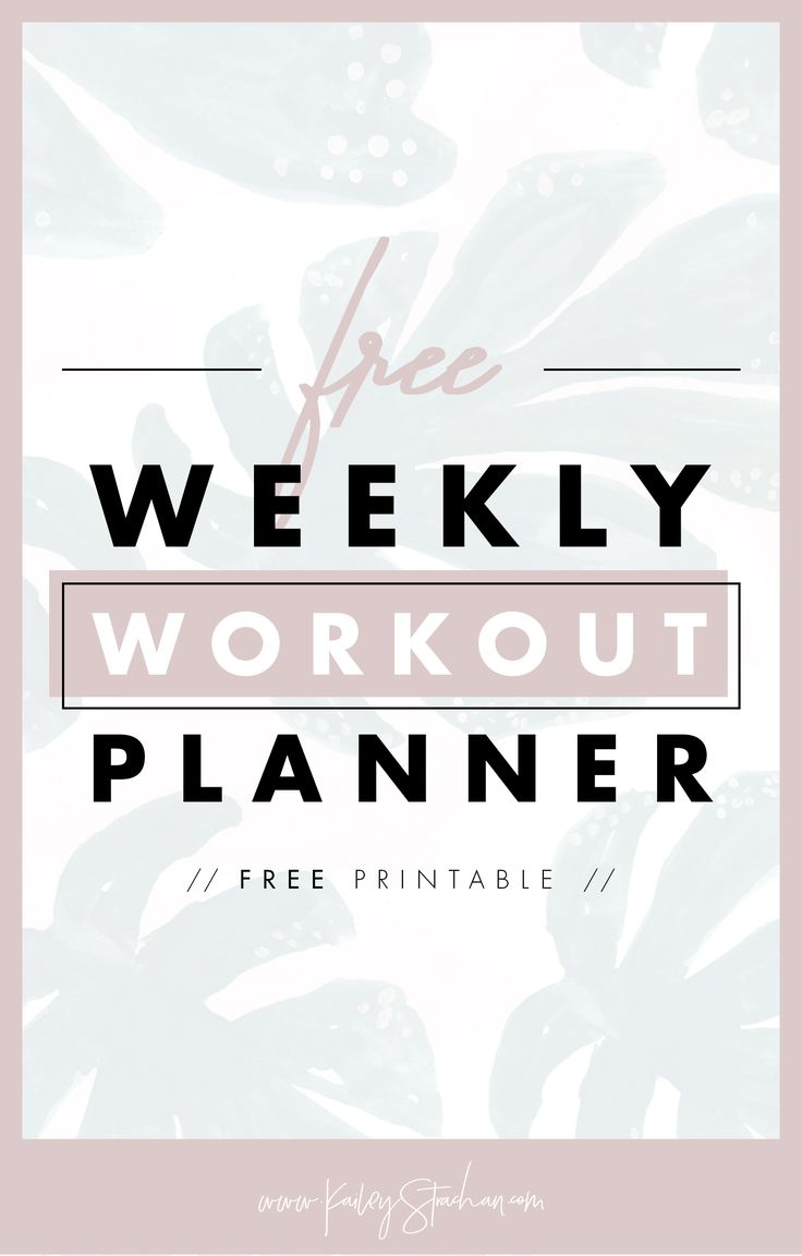 Weekly Workout Planner, workout schedule, planing - Free Printable — Kailey Strachan Creative www.kaileystracha... #graphicdesign #workout #freebie