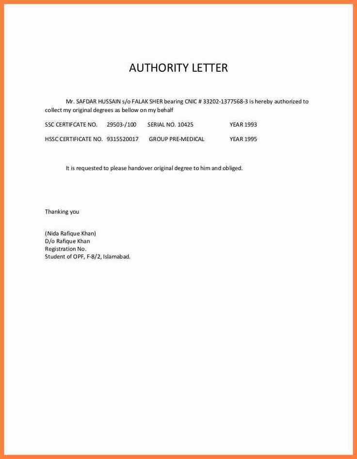 authorization letter sample receive documents life insurance every - handover note