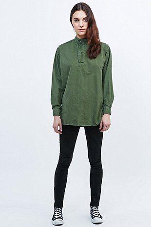 Urban Renewal Vintage Originals Swedish Tunic Top in Khaki - Urban Outfitters