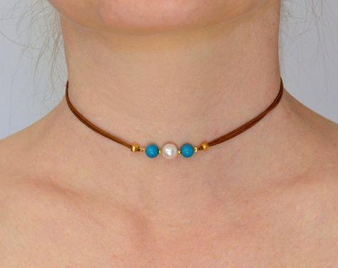 Gargantilla una perla y turquesa rebordea el collar collar