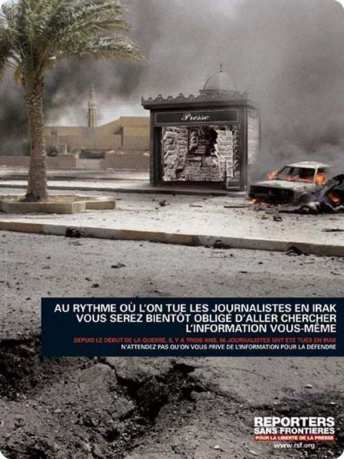 Reporters sans frontière - Protection des journalistes dans les pays en guerre (Saatchi)