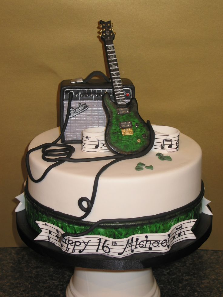 Cake Designs Guitar : Guitar music birthday cake Kids cakes Pinterest ...