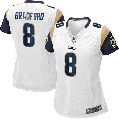 Sam Bradford Jersey Women's Nike St. Louis Rams  Game White Jersey   Size S, M,L, 2X, 3X, 4X, 5X. At Official St. Louis Rams Shop, you can find one of the largest selections online of Women's Nike St. Louis Rams  Sam Bradford Game White Jersey licensed by the NFL.  $69.99