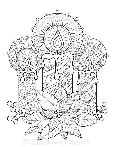 Christmas Coloring Book Candles by Thaneeya McArdle