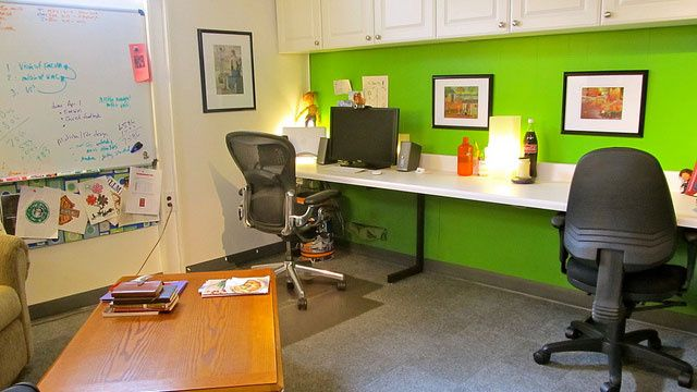 I can't believe how bright this basement office is.