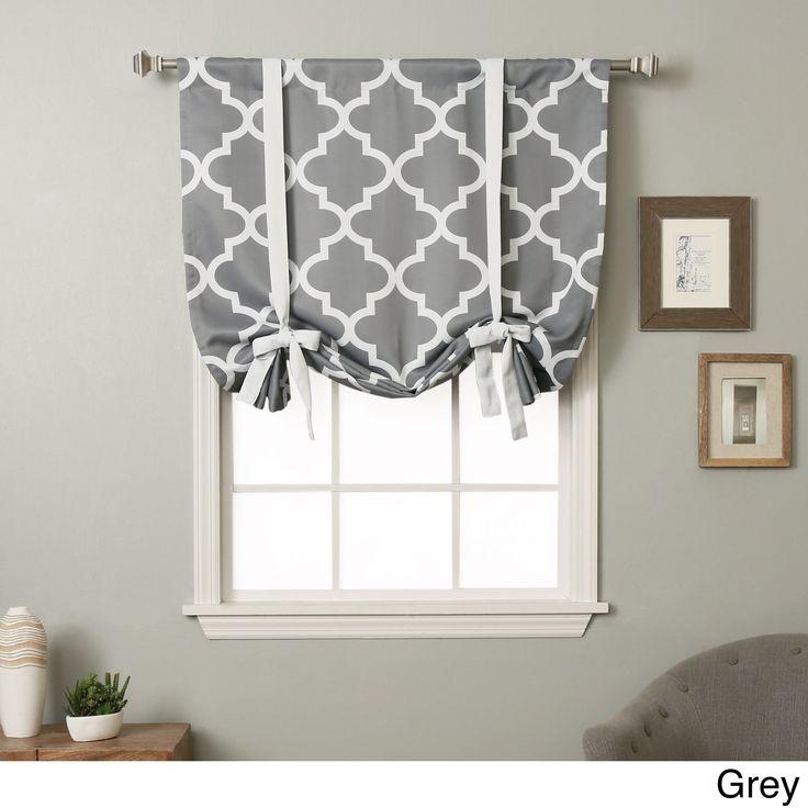 Aurora Home 63 Inch Moroccan Print Room Darkening Tie Up Window Shade (Grey