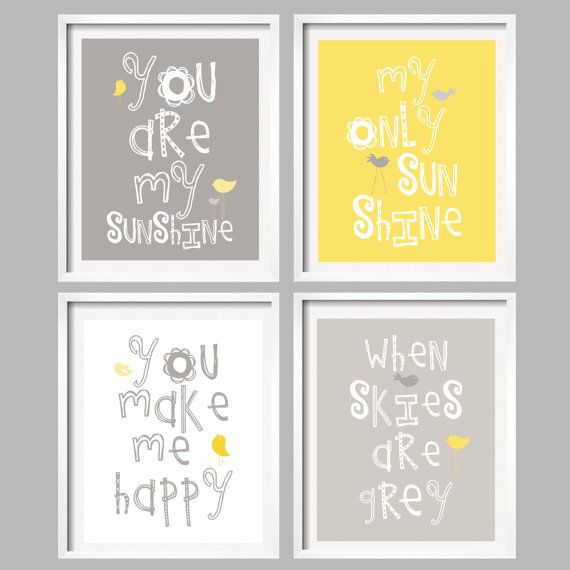 You Are My Sunshine Prints for boy or girl nursery by YassisPlace, $88.95