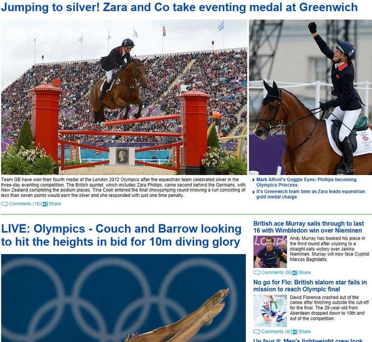 216: The action/reaction diptych is becoming a commonplace format for UK's Daily Mail to depict the entirety of a competition. It is worth note that the focus is on only the UK team, the German competitors who earned gold merit merely a one-line mention in a lengthy caption.
