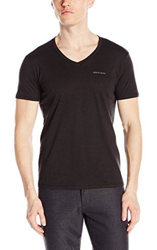 Armani Jeans Men's Regular Fit V-Neck T-Shirt, Black, Large ❤ Armani Jeans Mens Sportswear