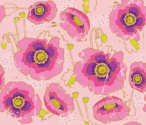 Giverny Poppies fabric by cynthiafrenette on Spoonflower - custom fabric