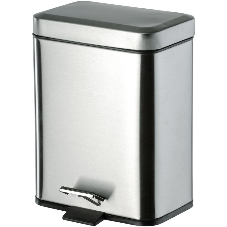 DI Square Step Trash Can, Stainless Steel Wastebasket W/ Lid - Brass Chrome 5L