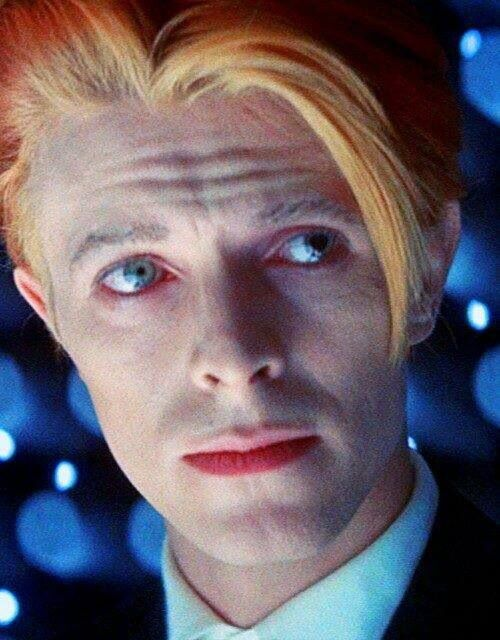 His hair is ELECTRIC in this film!  1975 - David Bowie as Thomas Newton in The Man Who Fell To Earth.