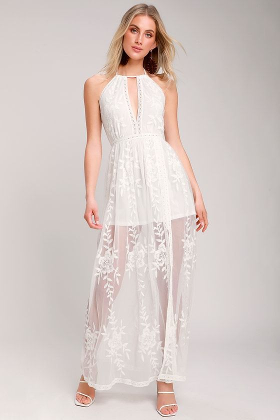81a24ced1be0 Lulus | Sunshine Sweetie White Embroidered Maxi Dress | Size Medium ...