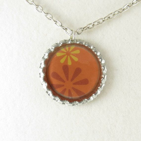 Orange and Yellow Flowers Resin Handmade Pendant by ChaoticBliss