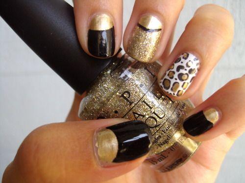 Gold gold gold: Cheetahs Nails, Nails Art, Gold Nails, Rings Fingers, Black White, Black Nails, Leopards Prints, Black Gold, Leopards Nails