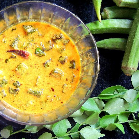 ... yogurt curry with fragrant asfoetida, curry leaves and fried okra