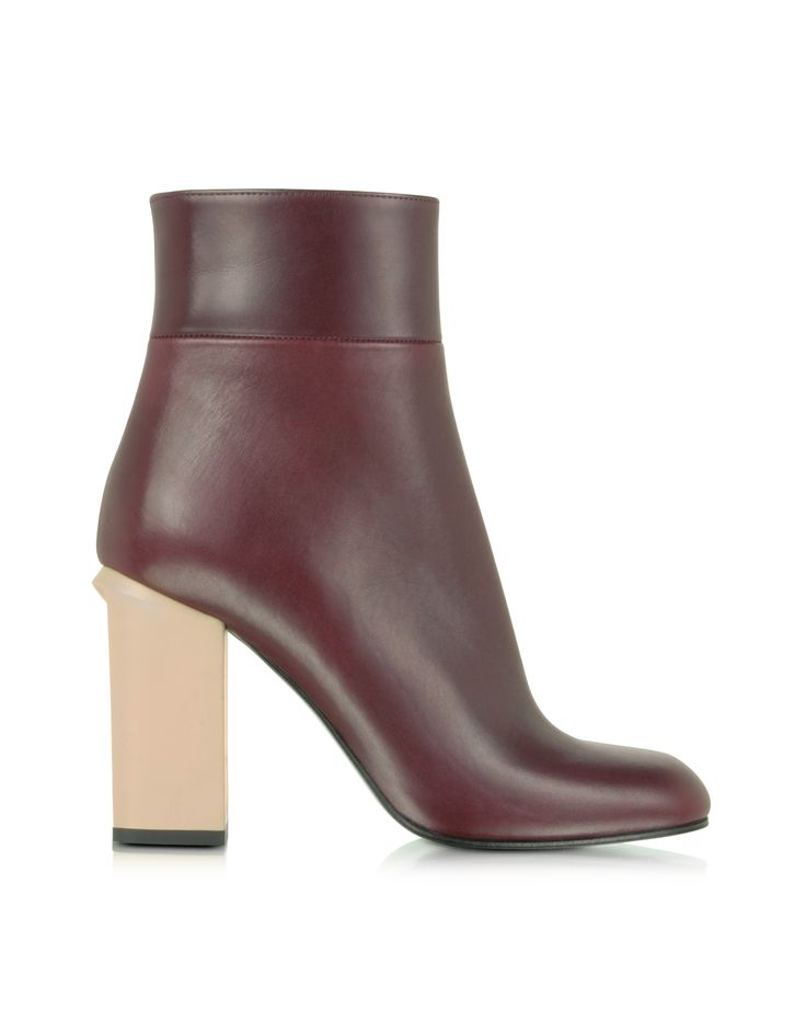 Marni Bordeaux Leather Ankle Boot 36 (6 US | 3 UK | 36 EU) at FORZIERI