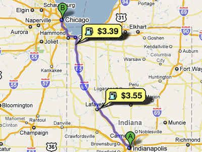 Find the lowest gas prices along the way.