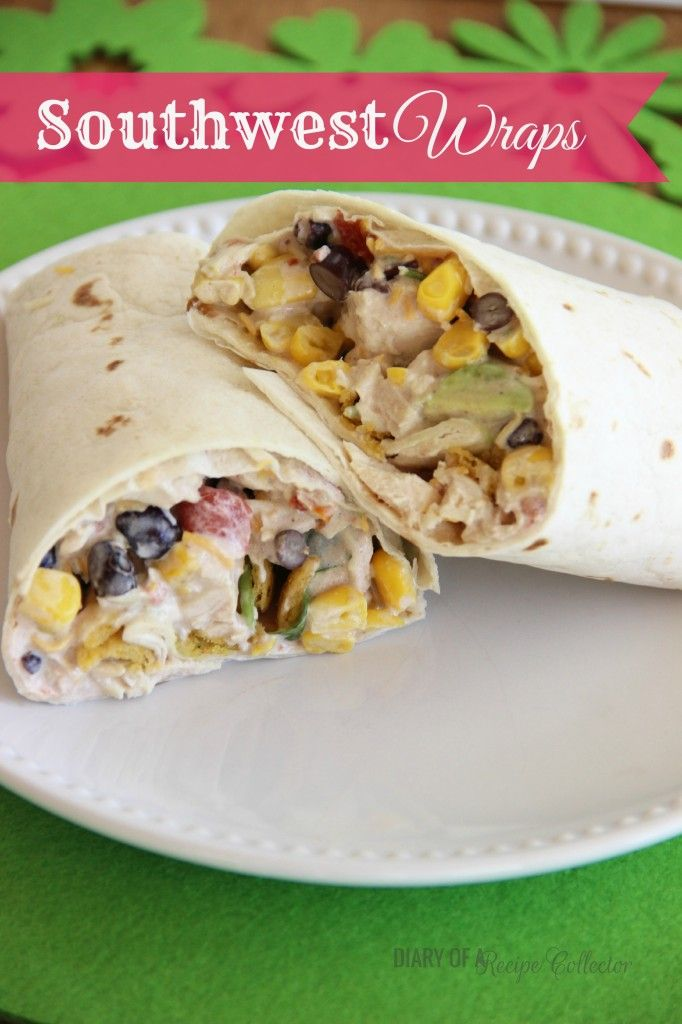 Southwest Wraps Ingredients: 2 chicken breasts, cooked and diced ½ cup mayo juice of 1 lime 1 tsp of a Fiesta Ranch Packet (found with the dressings) ½ of a 10 oz can of Rotel ½ of a 15 oz can of black beans, rinsed and drained ½ of a 15 o can corn, drained ¼ cup crushed corn chips or tortilla chips 1-2 tbsp chopped cilantro (optional) ½ - ¾ cup shredded colby jack 4 flour tortillas (10 inch) 1 avocado (diced)*