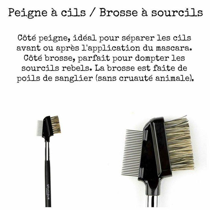 A la fois peigne et brosse à cils, cette brosse est faite à partir de poils de sanglier (sans cruauté animale)
