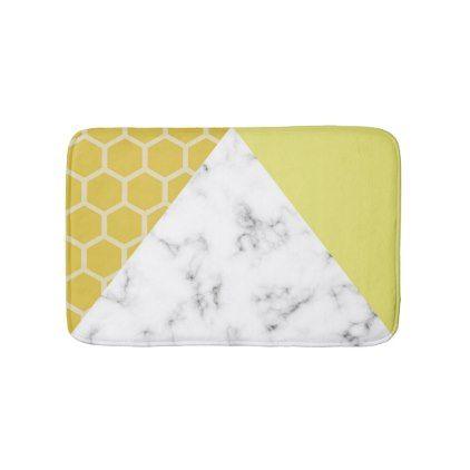 Honeycomb & Marble effect: Mustard Yellow Bath Mat - modern style idea design custom idea