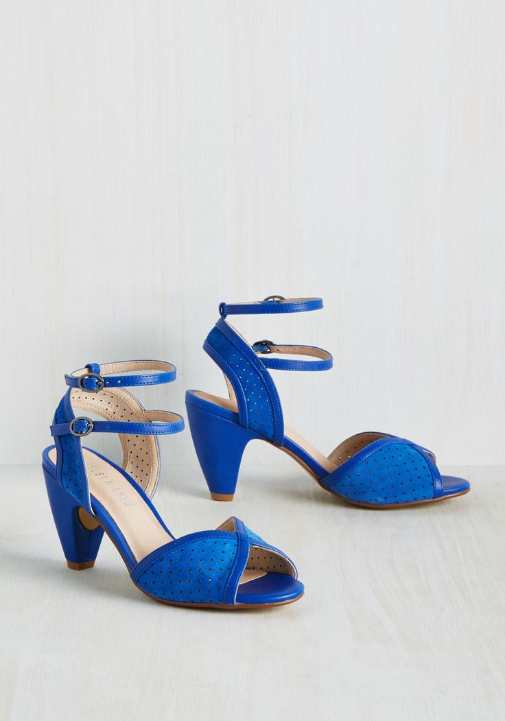 Brilliant at the Ballet Heel. As you sip on champagne during intermission, patrons make note of these leather-lined beauties - a cerulean pair of heels by Chelsea Crew. #blue #modcloth