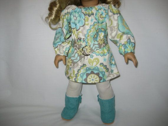 American Girl Doll Clothes  Aqua and Gray Dress with by lotsofdots